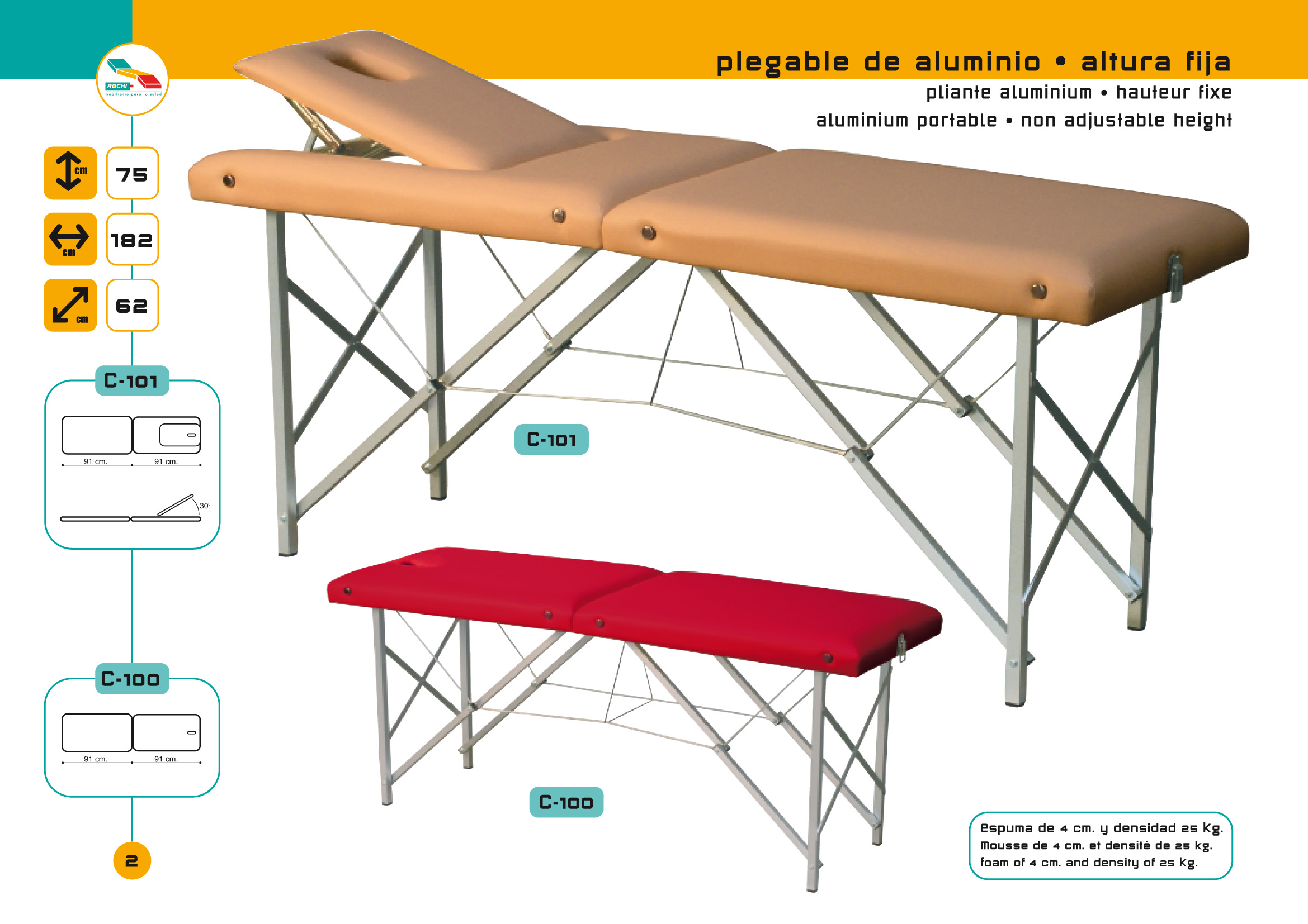 Table de massage pliante c 101 avec tendeurs - Table de massage pliante alu ...