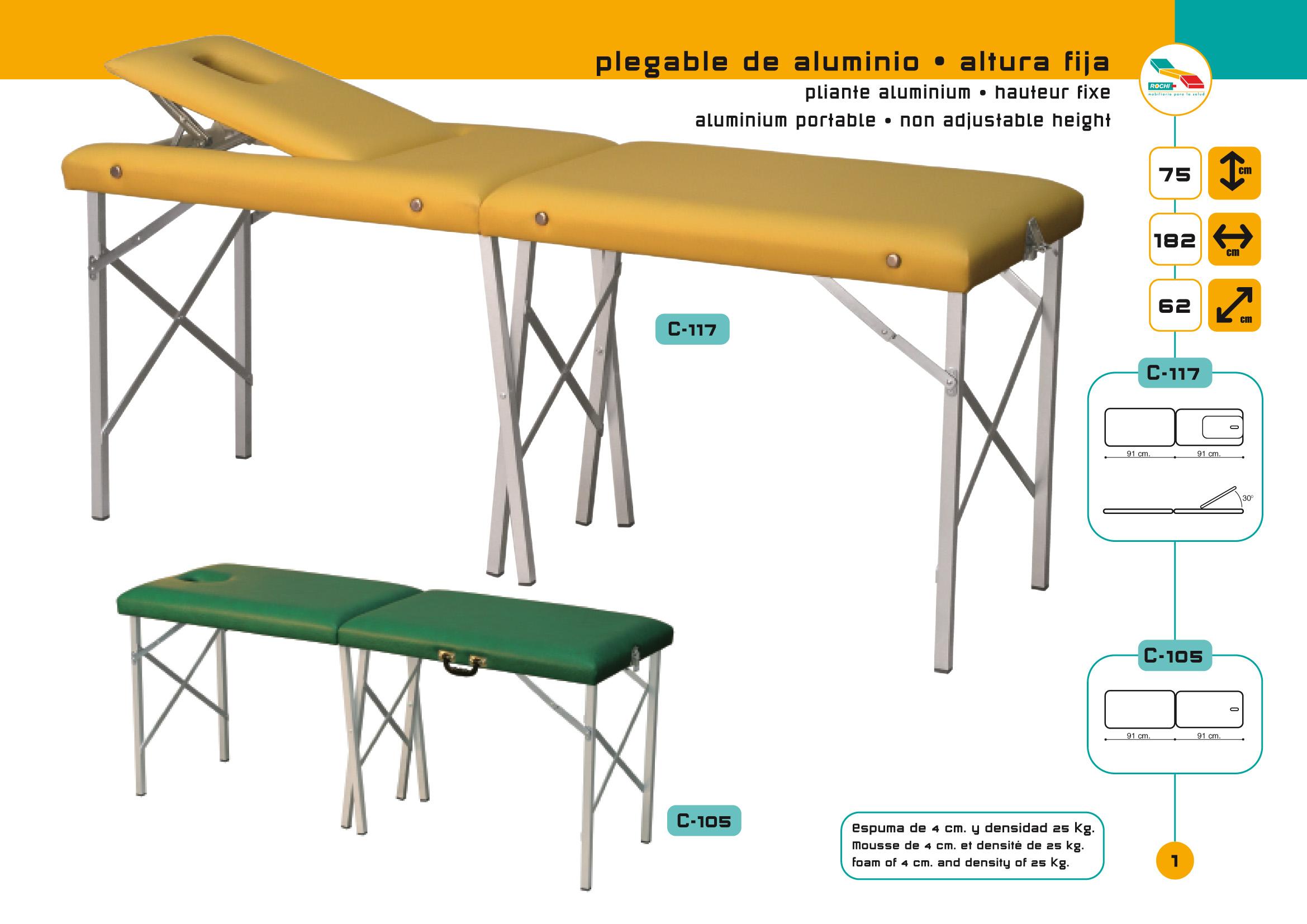 Table de massage pliante c 105 - Table de massage alu ...