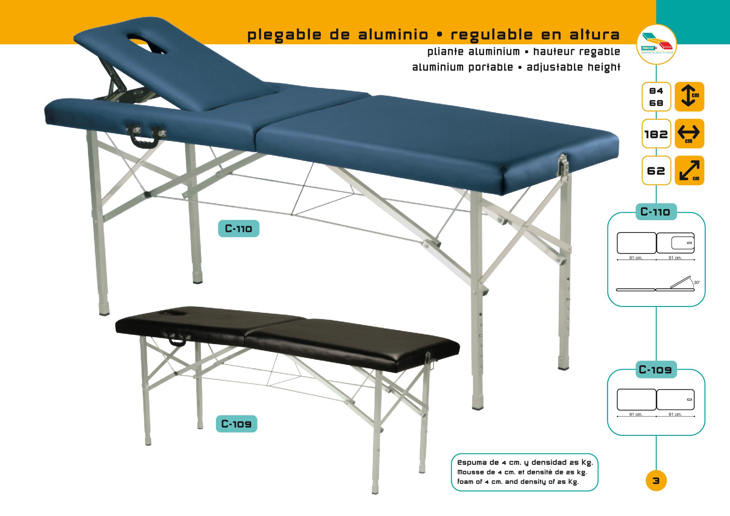 Table De Massage Pliante C 109 Avec Tendeurs