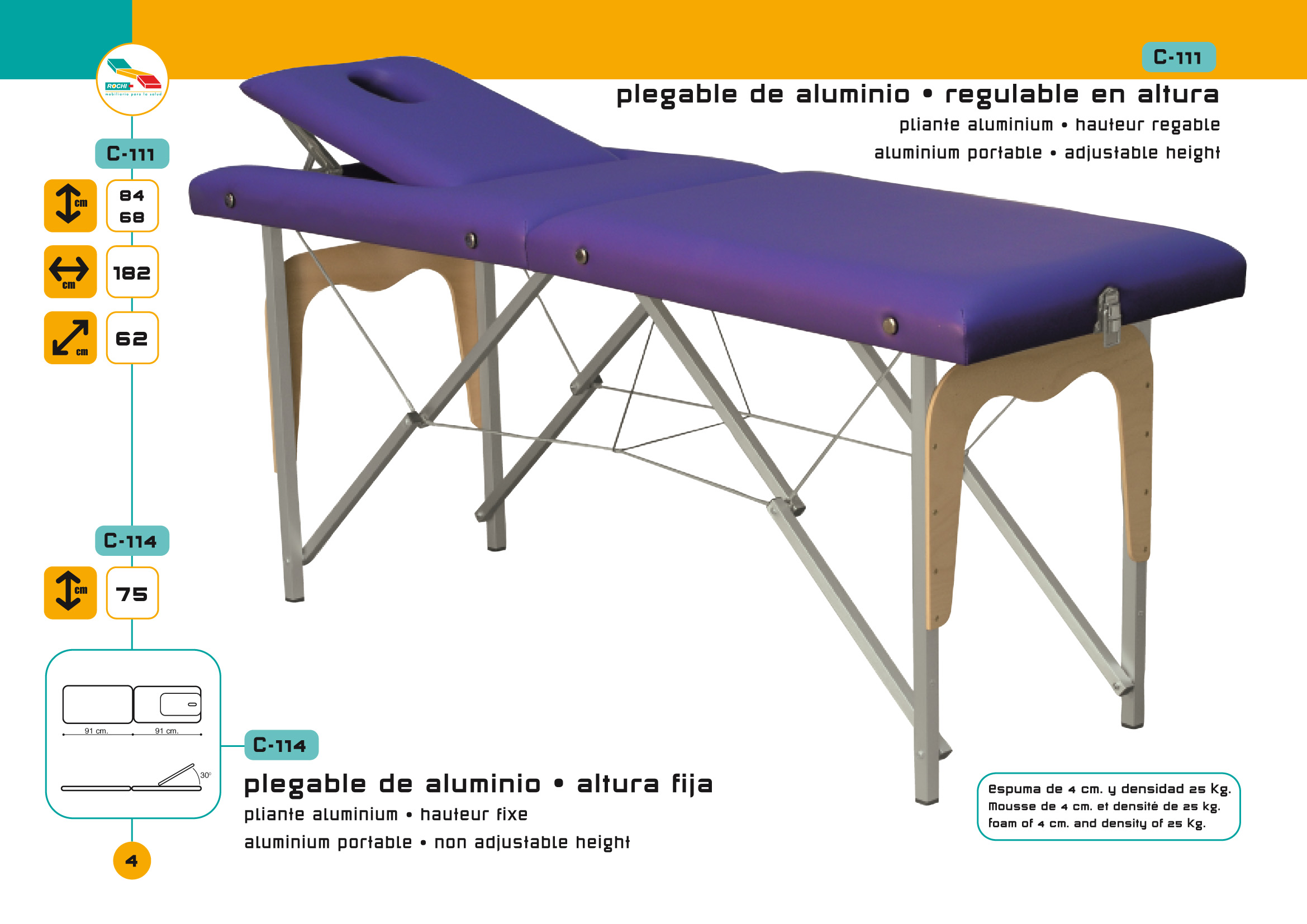 Table de massage pliante c 111 avec tendeurs - Table de massage pliante alu ...