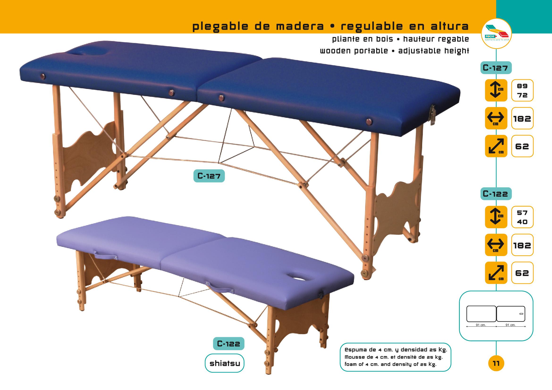 Table de massage pliante c 127 avec tendeurs hauteur r glable - Table de massage prix ...