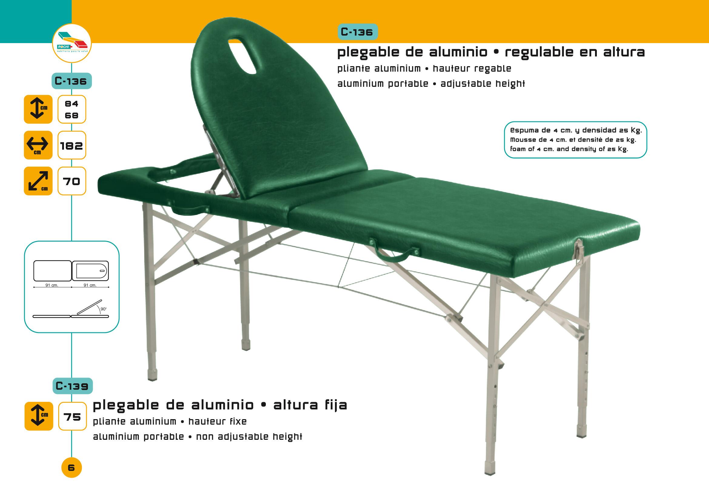 Table de massage pliante c 136 pi tement aluminium avec tendeurs - Table de massage alu ...