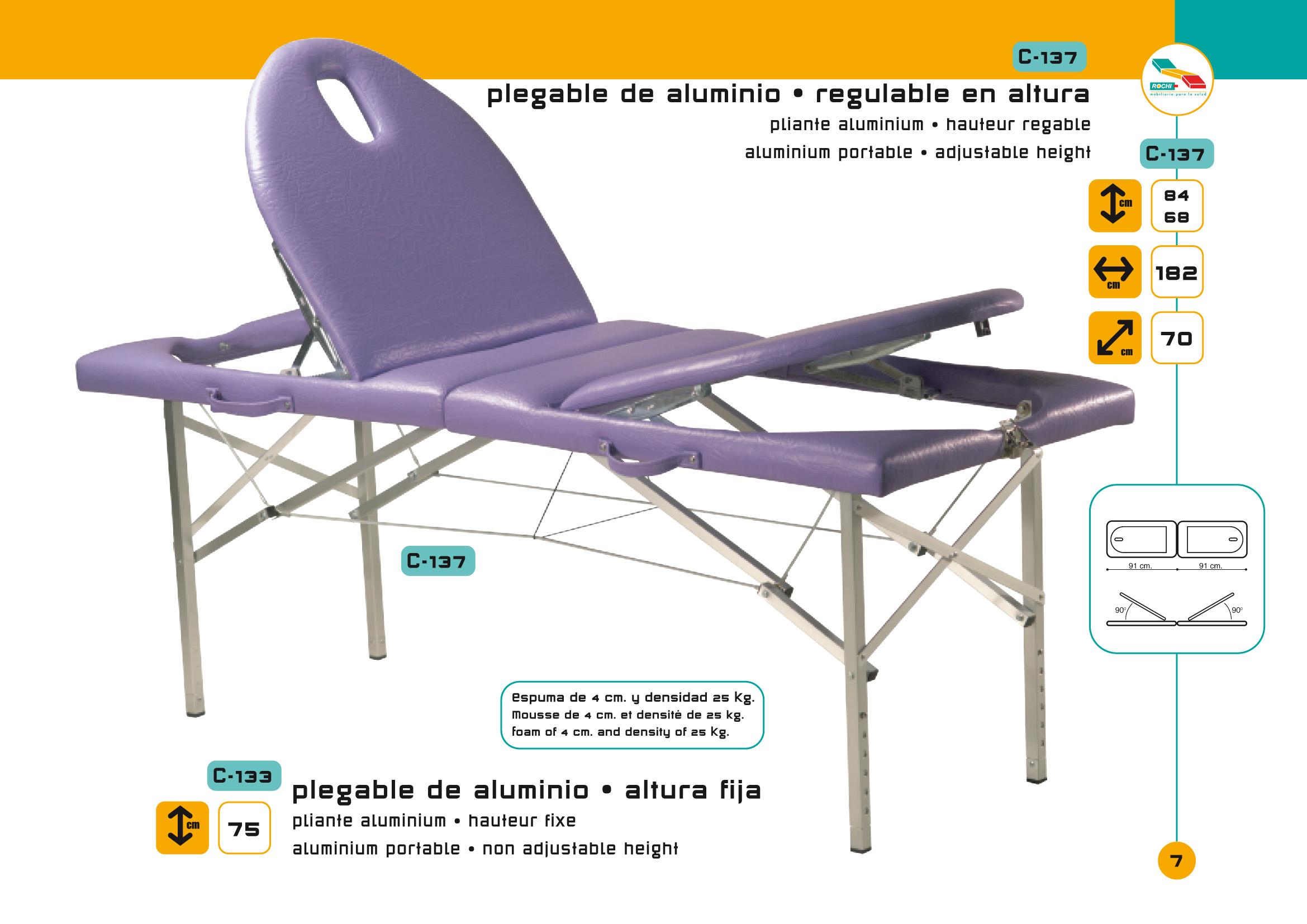 Table de massage pliante c 137 pi tement aluminium avec tendeurs - Table de massage pliante alu ...