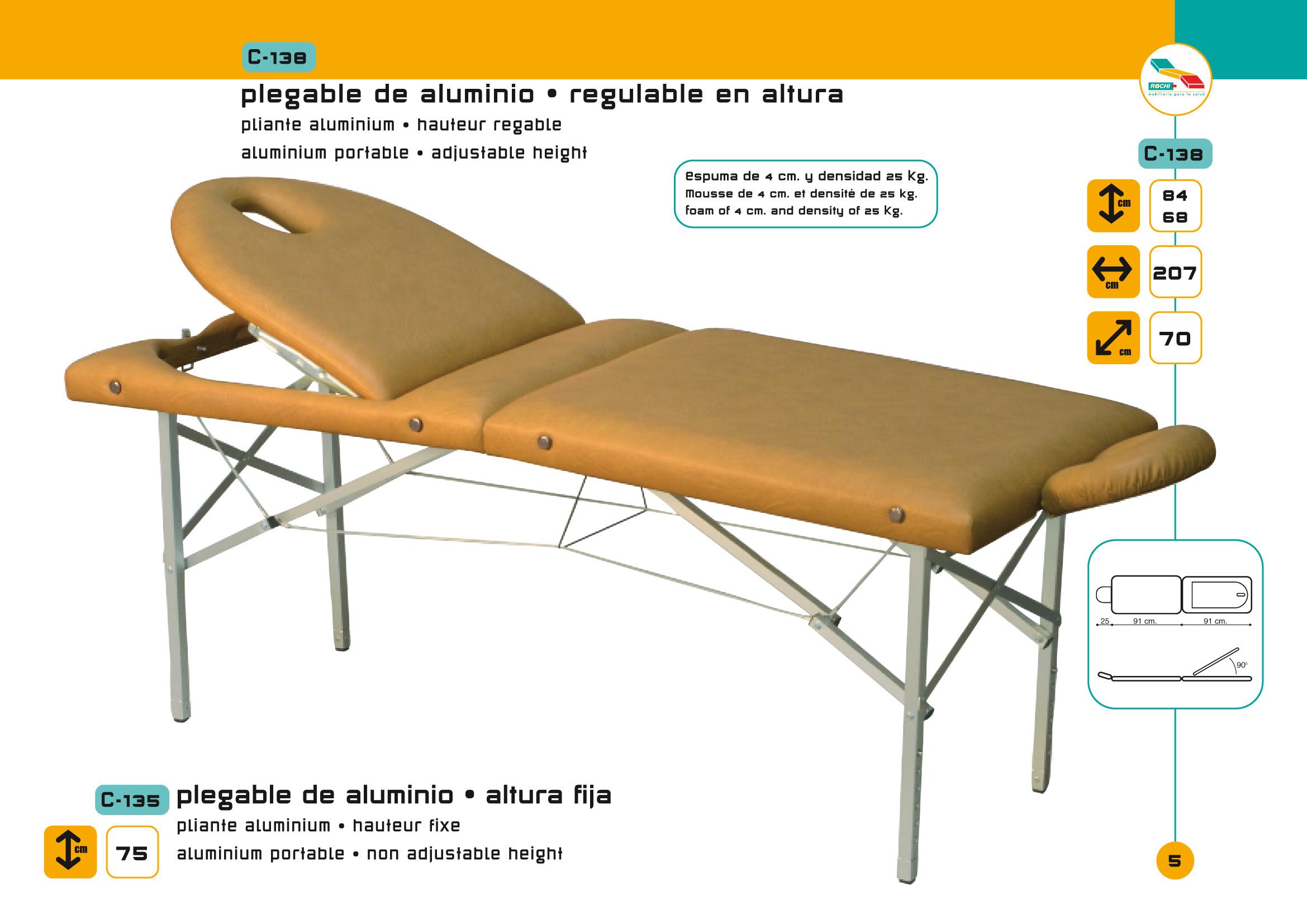 Table de massage pliante c 138 pi tement aluminium avec tendeurs - Table de massage pliante alu ...