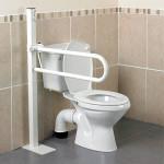 Barre d'appui WC relevable Devon avec fixation au sol