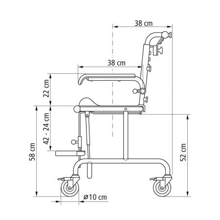 Chaise de douche et wc etac tripp tilt inclinable pour enfants sofamed - Chaise de douche inclinable ...