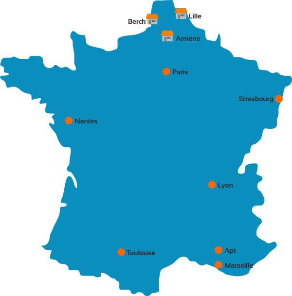 Dépôts logistiques Sofamed en France