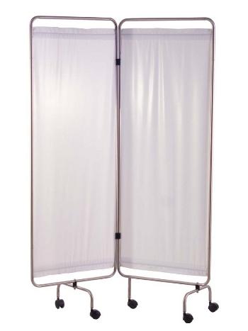 Paravent, inox, 2 ou 3 ou 4 panneaux avec rideaux tendus blancs