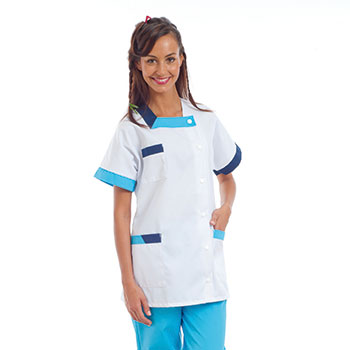tunique mdicale femme clea blanche parements marineturquoise - Blouses Medicales Colores